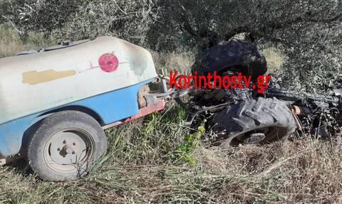 Κόρινθος: Αναποδογύρισε τρακτέρ – Σώθηκε από θαύμα ο οδηγός