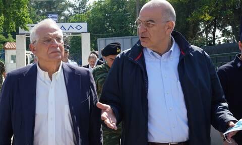 Δένδιας – Μπορέλ στις Καστανιές: Τα ελληνικά σύνορα είναι τα σύνορα της ΕΕ
