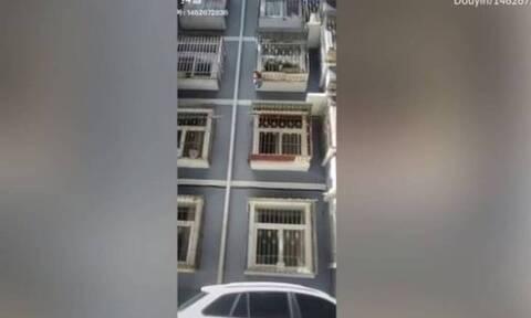 Γείτονες έσωσαν 2χρονο που κρεμόταν από τα κάγκελα τρίτου ορόφου (video)