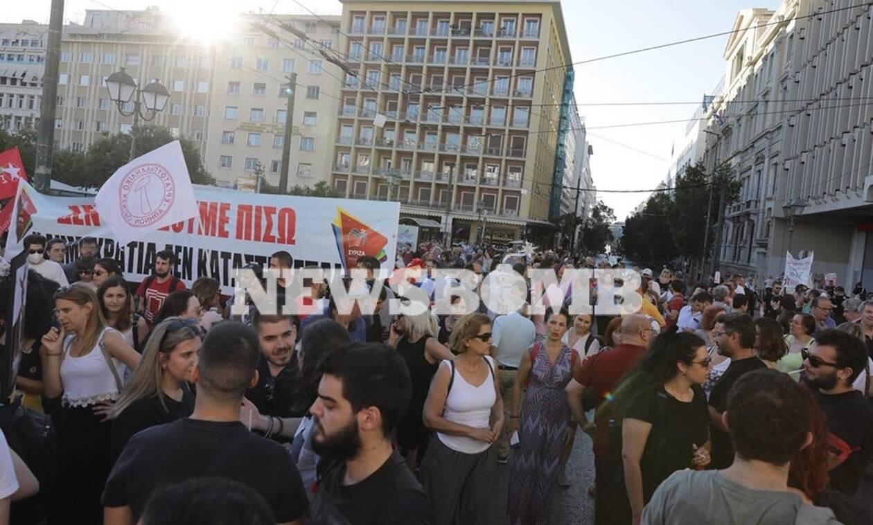 Πορείες κατά του νομοσχεδίου για τις διαδηλώσεις στο κέντρο της Αθήνας