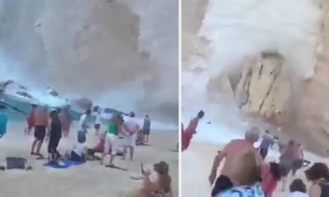 Κατολίσθηση σπέρνει τον πανικό σε παραλία της Ζακύνθου! (vid)