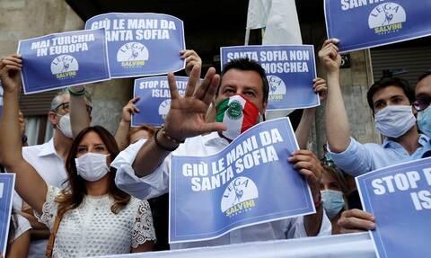Ο Σαλβίνι κατέβηκε σε διαμαρτυρία για την Αγία Σοφία: «Κάτω τα χέρια!» (pics & vid)