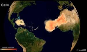 «Σύννεφο Γκοτζίλα»: Δείτε το εντυπωσιακό φαινόμενο από τη Σαχάρα να σκεπάζει τον Ατλαντικό