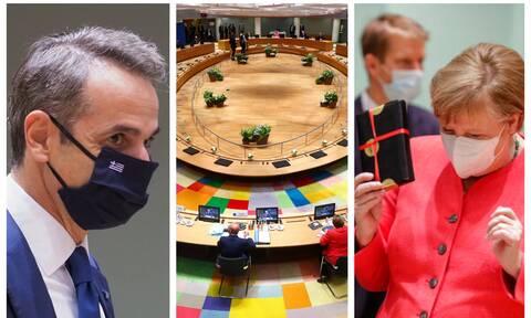 Σύνοδος Κορυφής με κορονοϊό: Η μάσκα του Μητσοτάκη και το δώρο της Μέρκελ (pics)