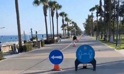 Κύπρος - Λεμεσός: Έβαλαν διαχωριστική κορδέλα και προειδοποιητικές πινακίδες στον Μόλο (vid)