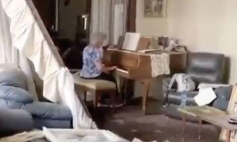 Βηρυτός: Ηλικιωμένη παίζει πιάνο στο κατεστραμμένο της σπίτι - Συγκινητικό βίντεο