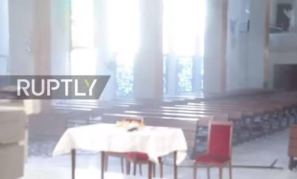 Βηρυτός : Νέο δραματικό βίντεο - Πανικός σε εκκλησία τη στιγμή της έκρηξης