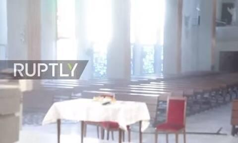 Βηρυτός : Νέο δραματικό βίντεο – Πανικός σε εκκλησία τη στιγμή της έκρηξης
