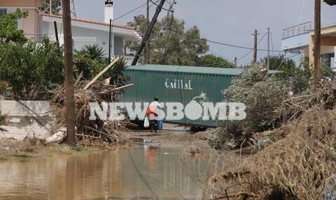 Πλημμύρες Εύβοια: Συγκλονιστικά πλάνα από drone δείχνουν την καταστροφή