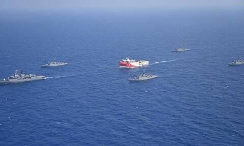 Τουρκική προπαγάνδα: Το Oruc Reis «περικυκλωμένο» από τουρκικά πολεμικά πλοία