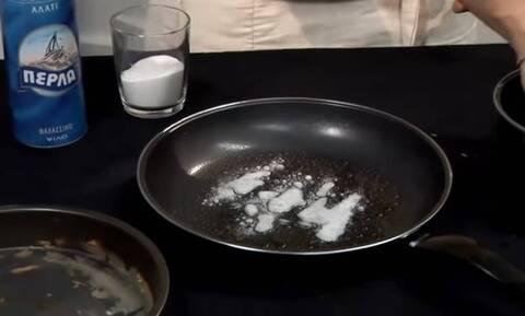 Καθαρίστε βρώμικο τηγάνι μόνο με ξύδι και μαγειρική σόδα (vid)