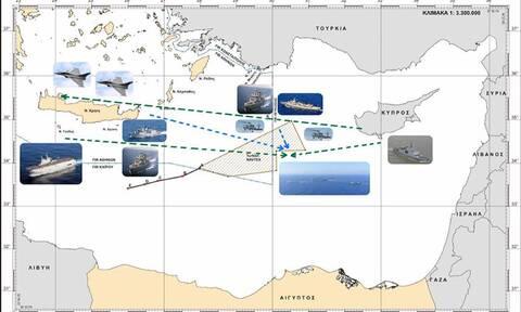 Ελληνογαλλική ασπίδα: Αυτός είναι ο χάρτης από την κοινή άσκηση στην Ανατ. Μεσόγειο