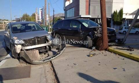 Χανιά: Σφοδρή σύγκρουση οχημάτων στη λεωφόρο Σούδας (pics)