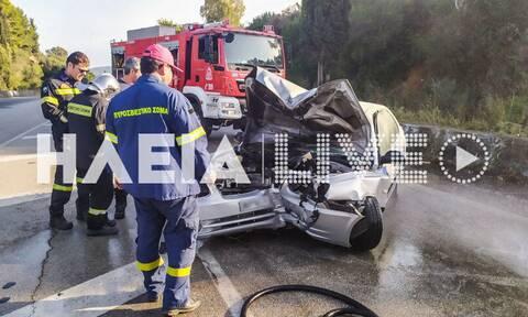 Σοβαρό τροχαίο στην Πατρών-Πύργου: ΙΧ τυλίχθηκε στις φλόγες - Μία τραυματίας (pics)