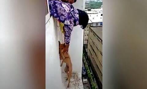 Δραματικό βίντεο: Έσωσαν το σκυλάκι ένα βήμα πριν το απόλυτο κενό