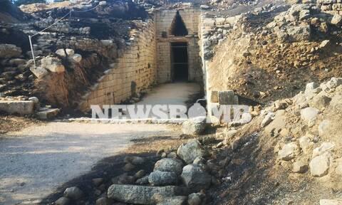 Στάχτη και αποκαΐδια από τη φωτιά στις Μυκήνες - Δείτε πώς είναι ο αρχαιολογικός χώρος