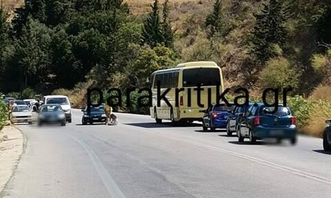 Κρήτη: Απίστευτο περιστατικό! Γυναίκα ξάπλωσε στη μέση της Εθνικής Οδού (pics)