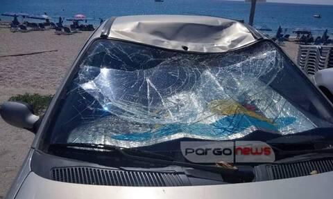 Πάργα: Αθλητής «παραπέντε» προσγειώθηκε πάνω σε αυτοκίνητο (pics)