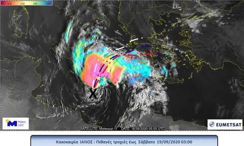 Κακοκαιρία «Ιανός»: Δείτε πώς στροβιλίζεται ο μεσογειακός κυκλώνας (vid)