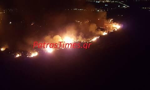 Συναγερμός στην Πάτρα: Μεγάλη φωτιά ανάμεσα σε Βούντενη και Συχαινά