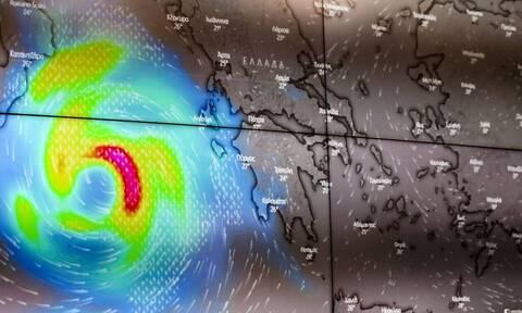 Κακοκαιρία «Ιανός»: Το «μάτι» του κυκλώνα φτάνει τα 50 χιλιόμετρα με ανέμους 90 χιλιόμετρα/ώρα