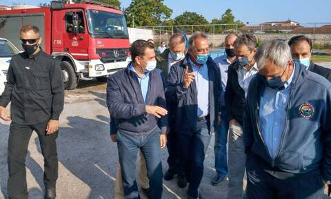 PM Mitsotakis visits Karditsa; meetings with local officials to assess damage by Medicane Ianos