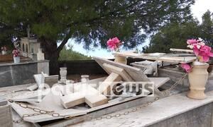 Κακοκαιρία: Σοκαριστικές εικόνες στην Ηλεία - Οι θυελλώδεις άνεμοι άνοιξαν τους τάφους