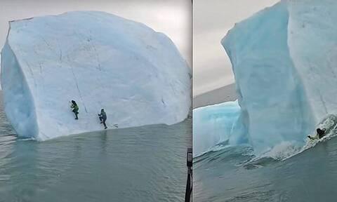 Η τρομακτική στιγμή που βυθίζεται το παγόβουνο μαζί με τους εξερευνητές! (vid)