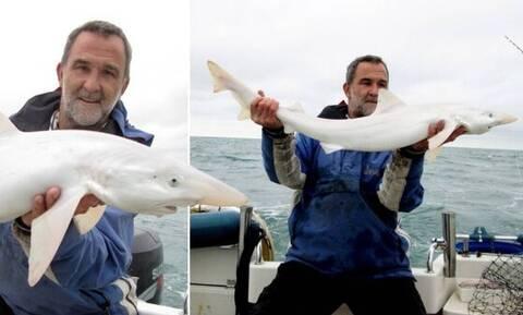 Έκανε τη ψαριά της ζωής του - Έβγαλε έναν σπάνιο λευκό καρχαρία (vid)