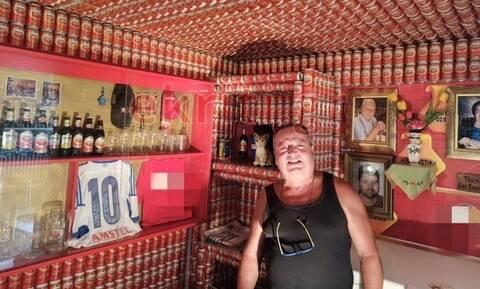 Κρητικός έφτιαξε καταφύγιο από 9.270 κουτάκια μπύρας (pics)