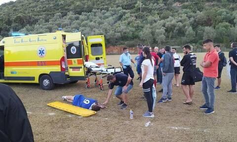 Αιτωλοακαρνανία: Η σοκαριστική στιγμή που ποδοσφαιριστής λιποθυμάει στο γήπεδο