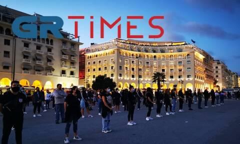 Θεσσαλονίκη: Διαμαρτυρία Κυπρίων φοιτητών στη πλατεία Αριστοτέλους