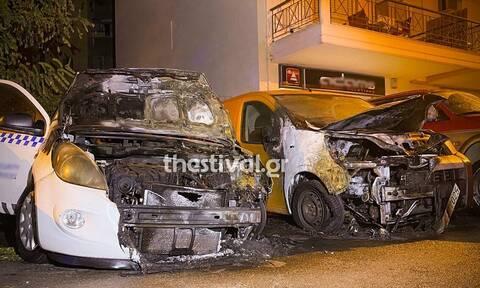 Θεσσαλονίκη: Εμπρηστική επίθεση σε οχήματα εταιρείας security (vid)