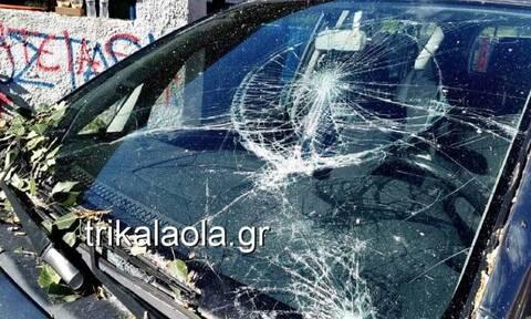 Τρίκαλα: Ξεριζώθηκαν δίδυμα μεγάλα δέντρα και καταπλάκωσαν 3 αυτοκίνητα