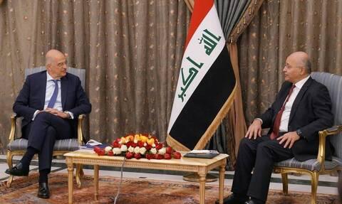 Στο Ιράκ ο Δένδιας: Συνομίλησε με τον Σαλίχ - Στο επίκεντρο η Ανατολική Μεσόγειος