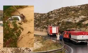 Κακοκαιρία – Κρήτη: Καρέ-καρέ η συγκλονιστική διάσωση γυναίκας - Σκαρφάλωσε σε στύλο της ΔΕΗ