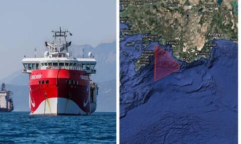 Θρίλερ με το Oruc Reis: Νέα NAVTEX μέχρι 27/10 για έρευνες μεταξύ Ρόδου και Καστελόριζου