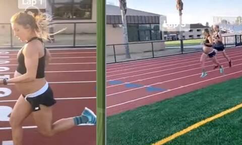 Έτρεξε ένα μίλι σε λιγότερο από 5 λεπτά στον 9ο μήνα της κύησης
