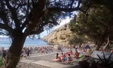 Απίθανο βίντεο: Η Κρήτη «πνίγεται» αλλά στα Μάταλα κάνουν… μπάνιο!