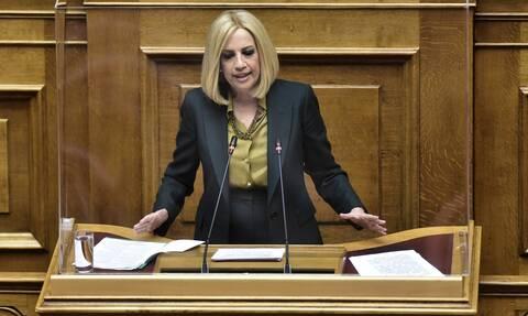 Πρόταση μομφής - Γεννηματά: Ο Τσίπρας είναι ο καλύτερος πολιτικός χορηγός του Μητσοτάκη
