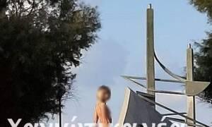 Σάλος και οργή στα Χανιά: Πόζαρε γυμνή σε μνημείο - Δείτε τις εικόνες