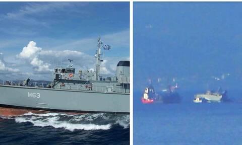 Σύγκρουση πλοίων στον Πειραιά: Kόπηκε στα δυο το πολεμικό πλοίο «Καλλιστώ»