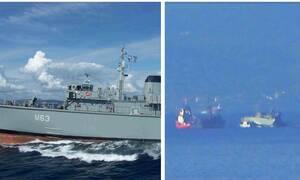 Σύγκρουση πλοίων στον Πειραιά: Kόπηκε στα δυο το πολεμικό πλοίο και βυθίζεται έξω από το λιμάνι