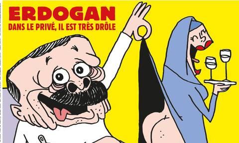 Το Charlie Hebdo σατιρίζει τον Ερντογάν: Καθισμένος με εσώρουχα, παρατηρεί τα οπίσθια μουσουλμάνας