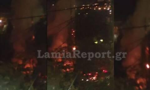Λαμία: Πυρκαγιά και εκρήξεις έξω από στρατόπεδο (photos)