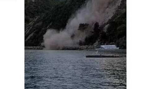 Σεισμός στη Σάμο: Κατολίσθηση στα Αυλάκια μετά τον σεισμό των 6,7 Ρίχτερ - Συγκλονιστικό βίντεο
