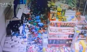 Σεισμός στη Σάμο: Ντοκουμέντο από κάμερα supermarket - Η στιγμή που χτυπάει ο εγκέλαδος