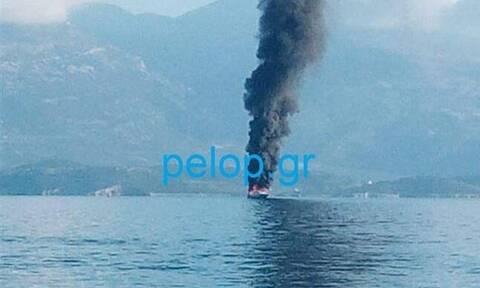 Φωτιά σε θαλαμηγό στο Αίγιο