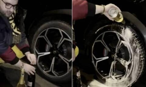 Προκλητικός μεγιστάνας πλένει τα λάστιχα της Lamborghini του με σαμπάνια