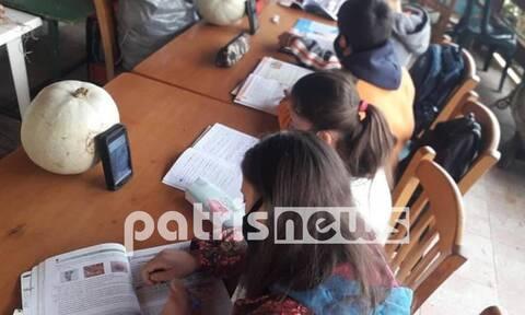 ΝΔ: Ο κοινοτάρχης και ιδιοκτήτης του καφενείου μοίρασε τη φωτογραφία με τους μαθητές στην Ηλεία